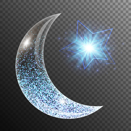 Ilustración de Lens flare background with glowing lights, a crescent moon and star. Ramadan kareem arabic art. - Imagen libre de derechos