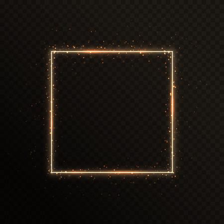 Ilustración de Bright golden frame with sparkles for New Year's greetings. Vector illustration with blazing borders - Imagen libre de derechos