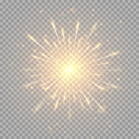 Ilustración de A flash of golden fireworks on a transparent background. - Imagen libre de derechos