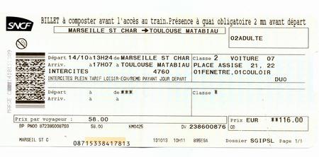 Photo pour Train ticket SNCF (French National Railway Company). Marseille - Toulouse, France - image libre de droit