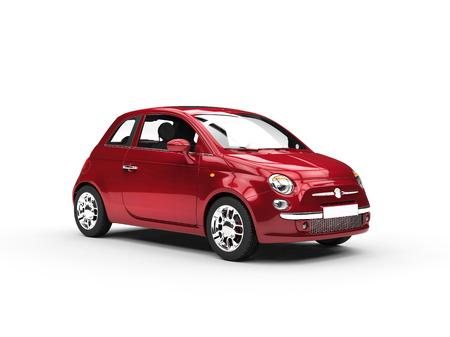 Photo pour Small cherry colored economic car - image libre de droit