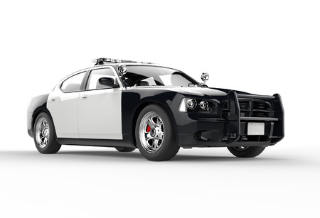 Foto de Police car without decals on white background, image shot in ultra high resolution. - Imagen libre de derechos