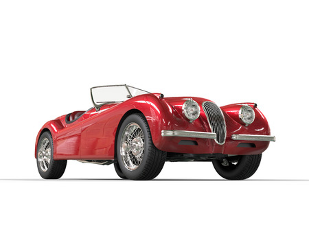 Photo pour Red vintage car on white background, image shot in ultra high resolution. - image libre de droit