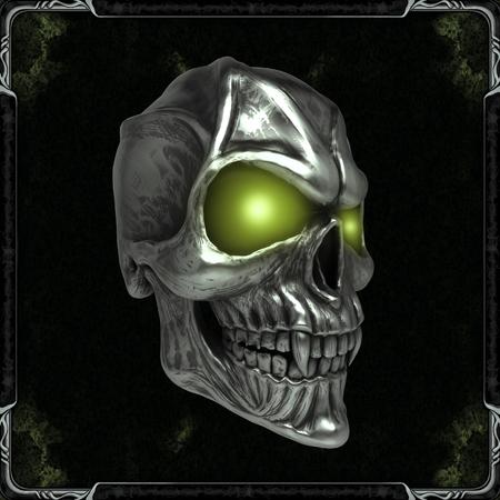 Foto de Skull with glowing green eyes - Imagen libre de derechos