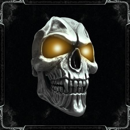 Foto de Skull with glowing yellow eyes - Imagen libre de derechos