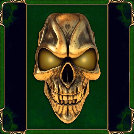 Foto de Skull with glowing golden eyes - Imagen libre de derechos