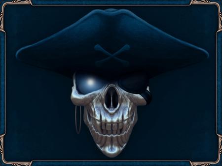 Foto de Pirate skull with glowing blue eyes - Imagen libre de derechos