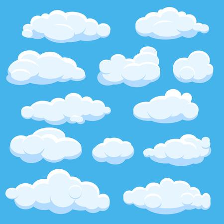 Illustration pour Cartoon vector clouds on blue sky - image libre de droit
