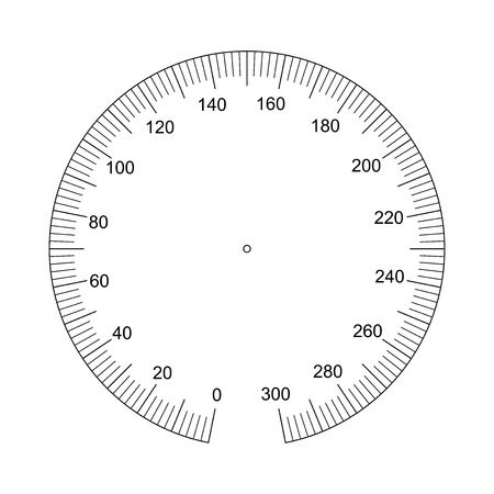 Illustration for Manometer face. Measuring circle scale. Measuring round scale, Level indicator, measurement acceleration, circular meter, round meter for household appliances division from 0 to 300. Vector EPS10 - Royalty Free Image