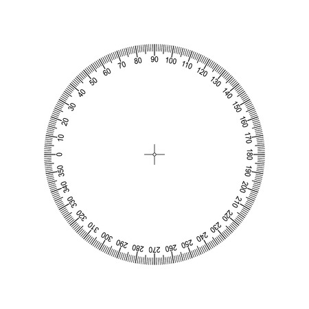 Illustration for Protractor 360 degrees Measuring circle scale. Measuring round scale, Level indicator, measurement acceleration, circular meter for household appliances division from 0 to 350. Graduation Vector EPS10 - Royalty Free Image