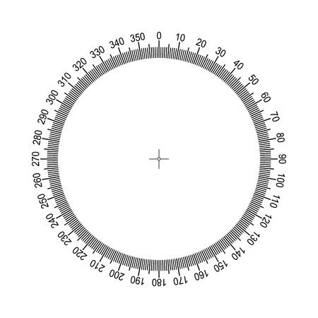 Ilustración de Measuring circle scale. Measuring round scale, Level indicator, measurement acceleration, circular meter for household appliances division from 0 to 350. Graduation 360 degrees Vector EPS10 - Imagen libre de derechos