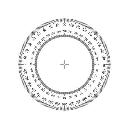 Ilustración de Circular Protractor. Protractor grid for measuring degrees. Tilt angle meter. Measuring tool. Measuring circle scale. Measuring round scale, Level indicator, circular meter - Imagen libre de derechos