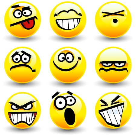 Cool cartoon smiles, emoticons