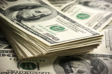 Photo pour Stack of one hundred dollar bills close-up. - image libre de droit