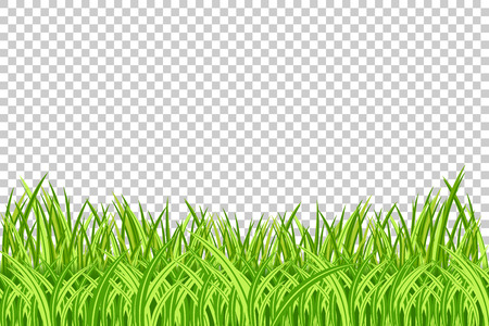 Illustration pour Grass Border. Vector Illustration. Realistic isolated green grass borders on the transparent background. - image libre de droit