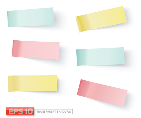 Illustration pour vector sticky notes, transparent shadows - image libre de droit