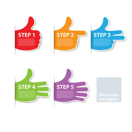 Illustration pour five steps fingers progress vector - image libre de droit