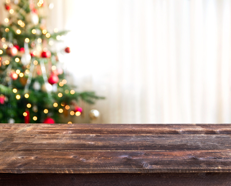 Foto de christmas table with empty space for a product - Imagen libre de derechos