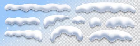 Illustration pour snow caps collection on transparent background, vector illustration design element - image libre de droit