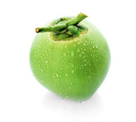 Foto de water drop green coconut isolated on white background - Imagen libre de derechos