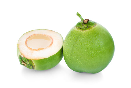 Photo for water drop green coconut isolated on white background - Royalty Free Image