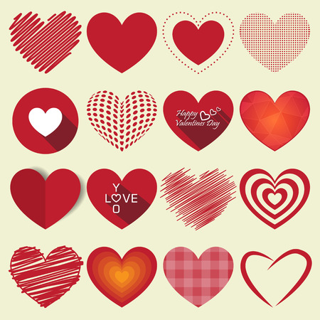 Illustration for Heart valentine icon set vector illustration - Royalty Free Image