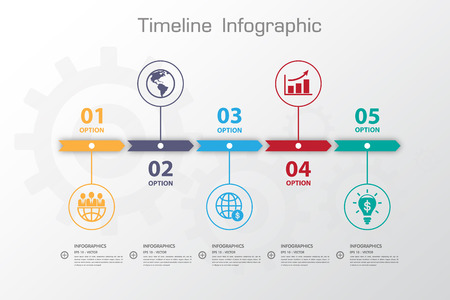 Illustration pour Long Shadow Design clean number timeline template/graphic or website - image libre de droit