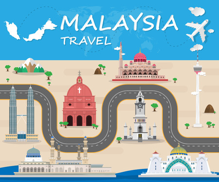 Ilustración de Malaysia Landmark Global Travel And Journey Infographic Vector Design Template. vector illustration. - Imagen libre de derechos