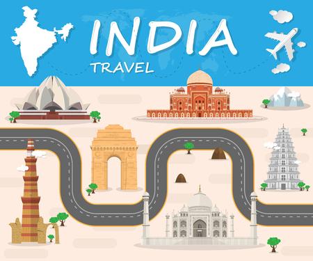 Ilustración de India Landmark Global Travel And Journey Infographic Vector Design Template - Imagen libre de derechos