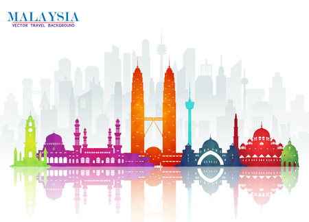 Illustration pour Malaysia Landmark Global Travel And Journey paper background. Vector Design Template.used for your advertisement, book, banner, template, travel business or presentation. - image libre de droit