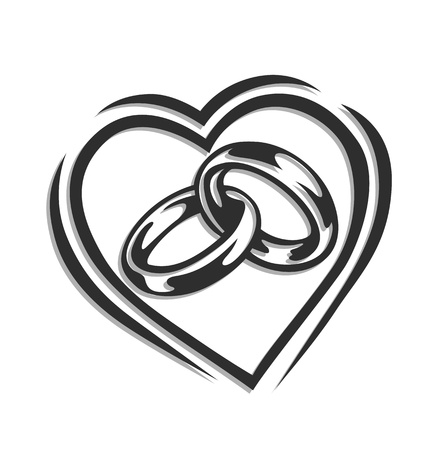 Foto de wedding ring in heart illustration isolated on white background - Imagen libre de derechos