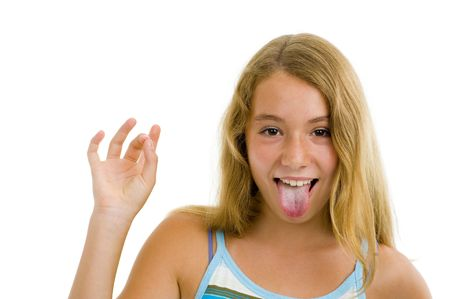 blonde teenager girl showing tongue, isolated on white