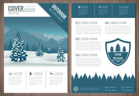 Illustration pour Outdoors flyer design with mountains landscape. Brochure headline for Sport and Recreation. Vector - image libre de droit