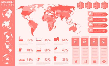 Ilustración de Info-graphic elements with world map and charts. Vector illustration. - Imagen libre de derechos
