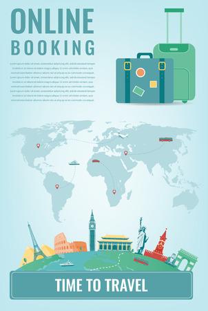 Ilustración de Travel composition with famous world landmarks. Travel and Tourism. Concept website template. Vector - Imagen libre de derechos