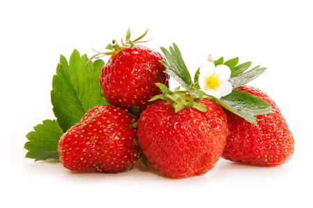Foto de Red fresh strawberries isolated on white. - Imagen libre de derechos