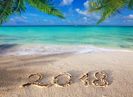 Foto de New Year 2018 Inscription written and Caribbean sea with green palm . - Imagen libre de derechos