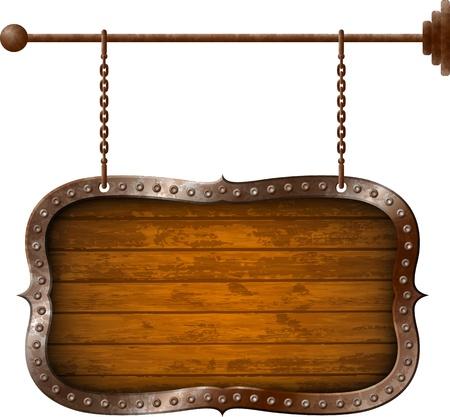 Illustration pour Wooden signboard with metal rim on the chains - image libre de droit