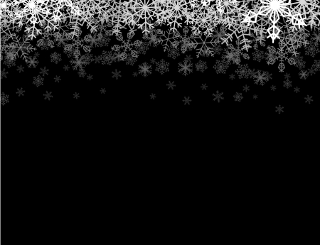 Illustration for Horizontal frame with snowflakes falling down into darkness - Royalty Free Image