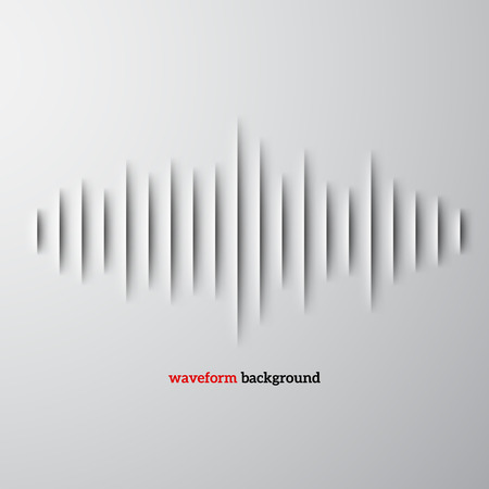 Ilustración de Paper cut sound waveform sign with shadow - Imagen libre de derechos