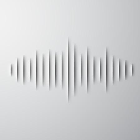 Ilustración de Paper cut sound waveform sign with shadow - Imagen libre de derechos