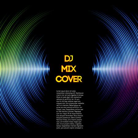Ilustración de DJ mix cover with music waveform as a vinyl grooves - Imagen libre de derechos