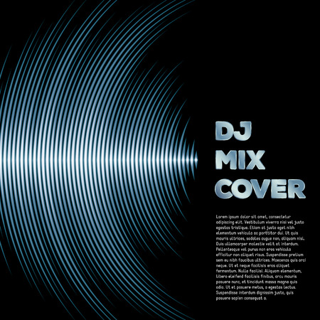 Ilustración de DJ mix cover with music waveform as a vinyl grooves - Imagen libre de derechos