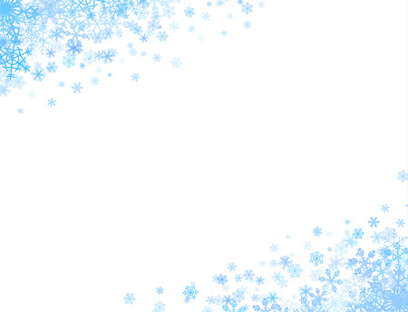 Illustration pour Christmas corners with different small snowflakes on top and bottom - image libre de droit
