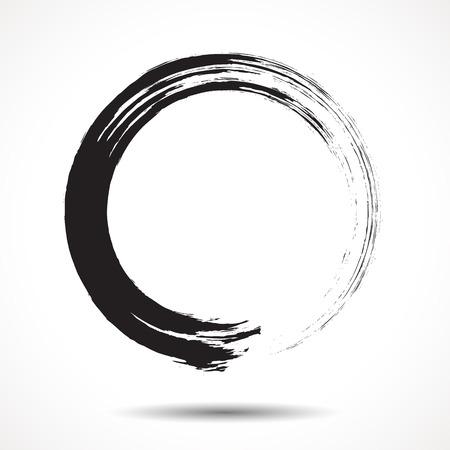 Ilustración de Brush painted black ink circle on white background - Imagen libre de derechos