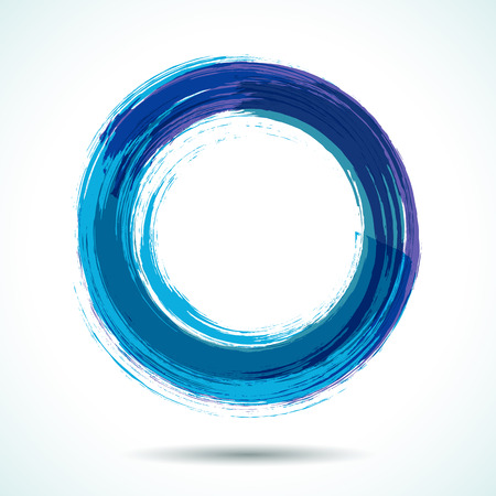 Illustrazione per Blue sea themed brush painted watercolor circle - Immagini Royalty Free