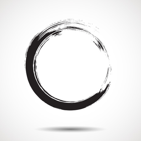 Illustrazione per Brush painted black ink circle on white background - Immagini Royalty Free