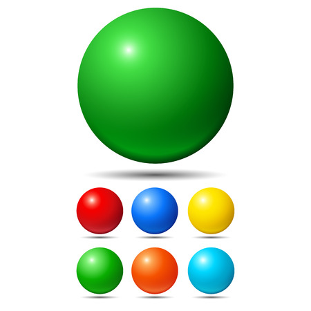 Illustration pour Set of bright colored balls. Green, red, yellow and cyan - image libre de droit