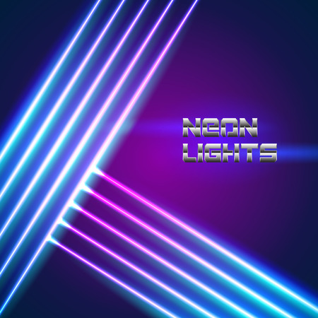 Illustration pour Bright neon lines background with 80s style and chrome letters - image libre de droit