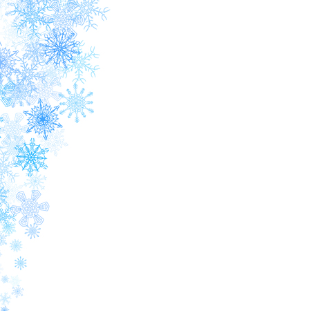 Illustration pour Christmas corners frame with small blue snowflakes - image libre de droit